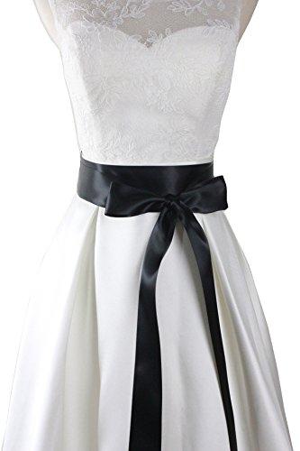 Simple classic colorful ribbon sash for daily dress formal and wedding dress (Black) (Black Ribbon Belt)