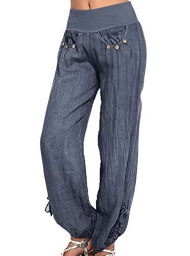 Huateng Azul Pantalones Mujeres De Oscuro Casuales Yoga rw7rq1nXp