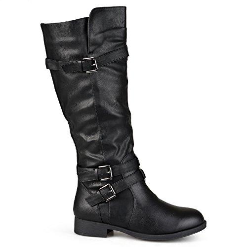 17 Inch Knee Boot - Brinley Co Women's Buffalo Knee High Boot, Black, 7 Wide/Wide Shaft US