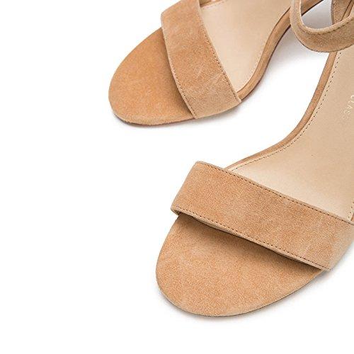 Moda Mujer Sandalias de Punta Albaricoque de Zapatillas de Tacones de DHG Tacón Dulces Sandalias Verano de Sólido Planas bajo Sandalias Ocasionales de Color 38 Altos wUp8zqY