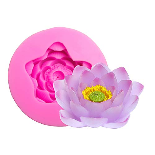 Big Size Lotus Flower Silicone Mold Candy Chocolate Gumpaste Polymer Clay Moulds Fondant Cake Decorating Molds 3D Craft Soap Moulds Candle Resin Fimo Clay Molds Sugar Craft Bakeware Pan Baking Tools