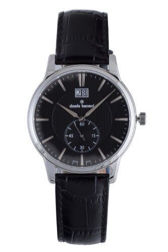 Claude Bernard Men's 64005 3 NIN Classic Gents Black Dial Leather Date Watch