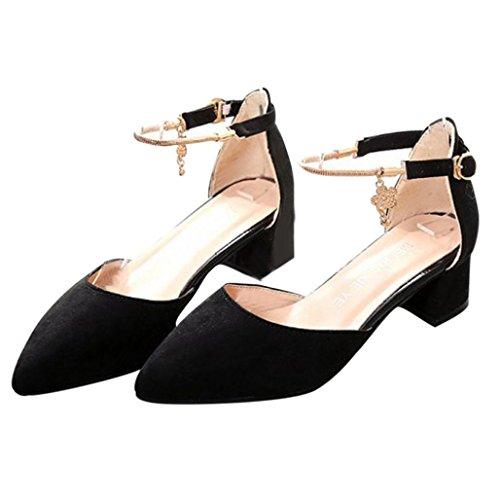 Elevin(TM)2017Women Spring Summer High Heels Pointed Toe Sandals Platform Wedge Shoes (4.5US, Black)