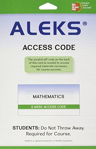 Aleks For Mathematics  6 Weeks Standalone