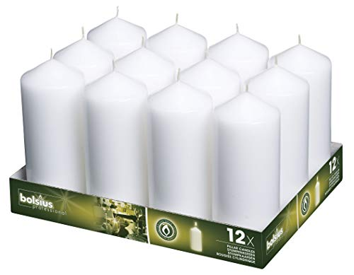 BOLSIUS Set of 12 White Pillar Candles - 2.75-x6.60 inch Unscented Candle Set - Dripless Clean Burning Smokeless Dinner Candle - Perfect for Wedding Candles, Parties and Special Occasions