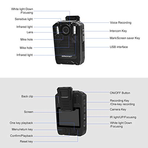 SMONET 【2019 New】 Body Camera with Audio, HD Multifunctional Police Body Cameras for Law Enforcement,Security Guard,Waterproof Body Worn Camera with Night Vision,2 Inch Display Video,Wide Angle(32GB) by SMONET (Image #7)