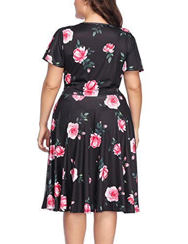 5XL Casual Stretchy LADY Floral Black XL Women's Neckline Dress Size Midi PARTY V Plus FwHx7qXIX