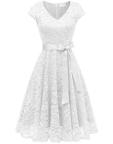 BeryLove Women's Floral Lace Short Bridesmaid Dress Cap Sleeve Cocktail Party Dress BLP7006WhiteL
