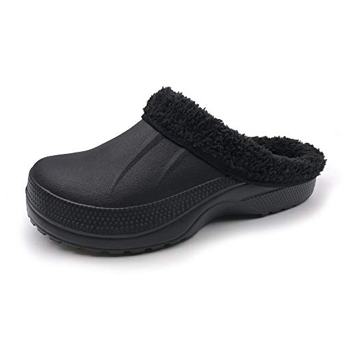 Amoji Winter Slippers Indoor House Clogs Home Ferry Lined Fleece Mule Men Women Ladies Black 10-11 US Women/8.5-9.5 US Men