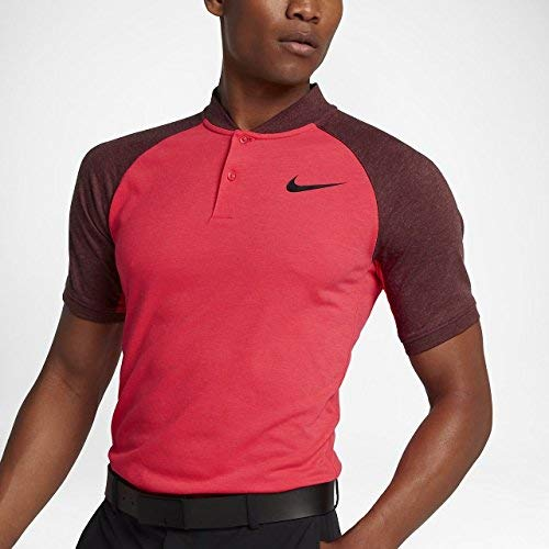(NIKE Modern Fit Transition Dry Color Golf Polo 2017 Siren Red/Dark Team Red/Black Large)