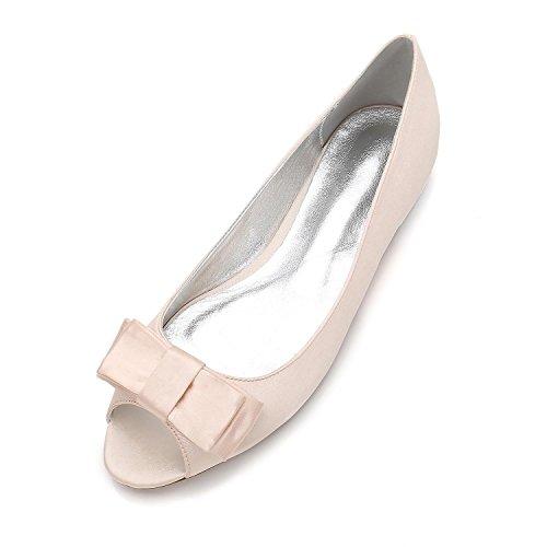 Corte Honor Satin De Peep 11 Toe Silk Boda Mujeres Las Eleoulck Dama Chunky 5049 Pumps Champagne zapatos Zapatos Hpwxq6Sn7R