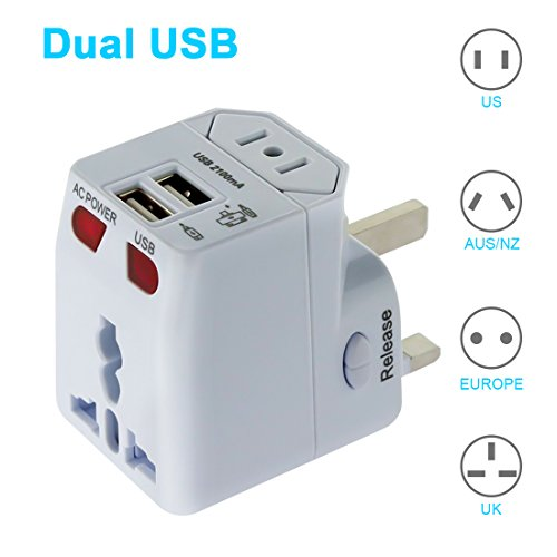 LEDMO Universal World Travel AC Power Adapter with Dual USB Ports for UK/US/AUS/EU, All in One Universal International Worldwide Adapter Plug