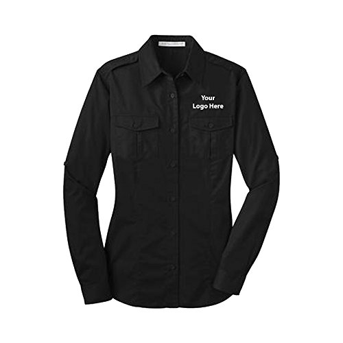 Sleeve Twill Shirt - 24 Quantity - $36.65 Each with Your Logo/Customized Black (Black Logoed Sweatshirt)