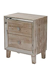 Heather Ann Creations Bon Marche Series 2 Drawer Small Space Saving Square Wooden