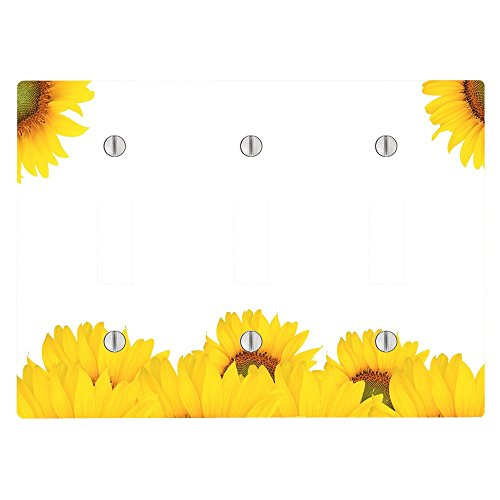 - Sunflower Sunflowers Spring Summer 3 Toggle Electrical Switch Wall Plate (6.56 x 4.69in)