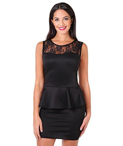 Lace Neck Bodycon Peplum Dress (Black, 14),[3127-BLK-18]