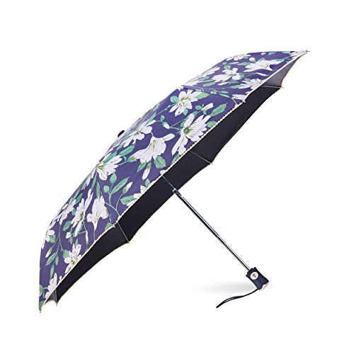 Rainbrace Rain & Sun Compact Folding Travel Umbrella Auto Open and Close for Windproof, Rainproof & 99% UV Protection with Black Anti-UV Coating, UPF50+, Elegant Lily and Dark Blue