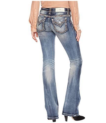 Miss Me Women's Mid-Rise Bootcut with Thick Border Stitching in Medium Blue Medium Blue 33 34 ()
