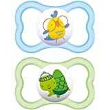 """MAM Sensitive Skin Pacifiers, Baby Pacifier 6+ Months, Best Pacifier for Breastfed Babies, """"Air"""" Design Collection, Boy, 2-Count"""