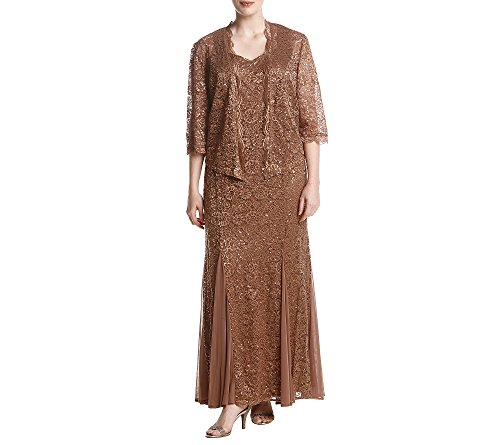 R&M Richards Plus Size Lace Embellished Sequin Jacket Dress Set 20W -