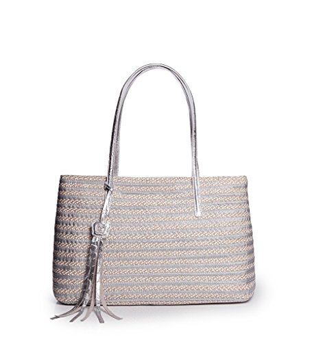 Eric Javits Stripe (Eric Javits Luxury Fashion Designer Women's Handbag - Dame Brooke - Frost/White)