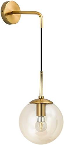 Modo Lighting Mid Century Modern Wall Light Minimalist Adjustable Raw Brass Round Glass Fixture Reading Lamp Amber Lampshade