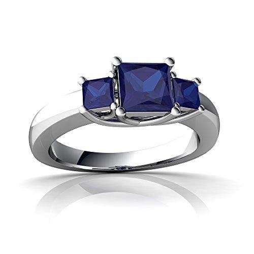 14kt White Gold Lab Sapphire 3mm Square Three Stone Trellis (Prong Trellis Ring)