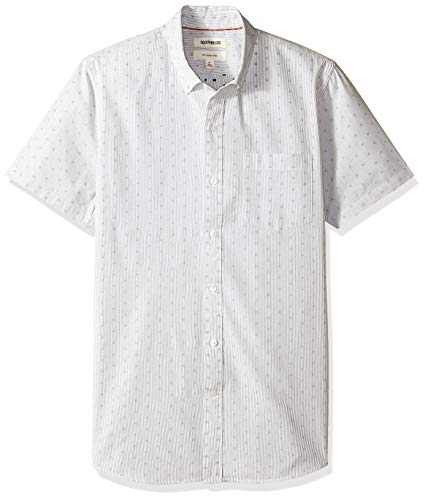 Goodthreads Men's Slim-Fit Short-Sleeve Dobby Shirt, -black stripe dot, XX-Large (Cotton Dobby Dot)
