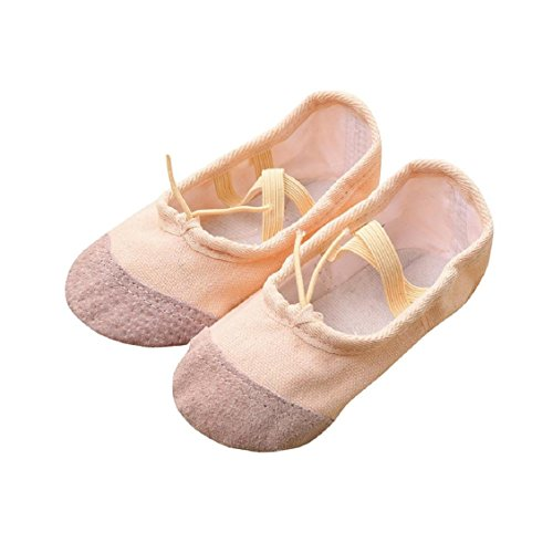 Naladoo Canvas Ballet Pointe Dance Shoes Fitness Gymnastics Slippers for Kids Children (5-5.5 years old, Beige)