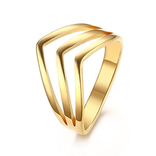 Vnox Stainless Steel 3 Layers Stackable Chevron Rings for ngagement Wedding,Gold Plated ,Size 8