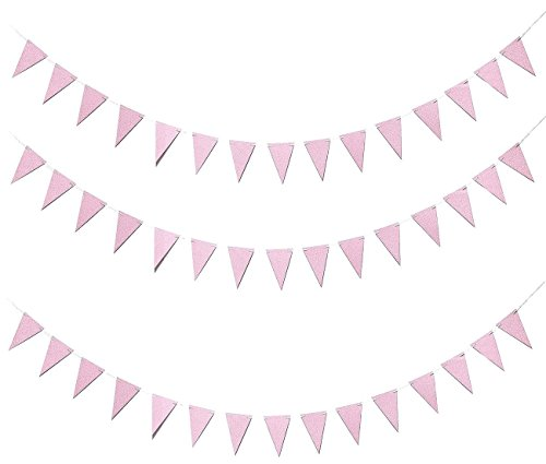 Triangle Pennant Banner – 3-Pack Bunting Flags Banner Garland Decorations, Party Supplies for Kids Birthdays, Baby Shower, Bridal Shower, Pink, 3.75 x 5.5 inch Flags, 10 Feet Length