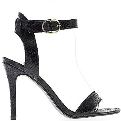 Sandales noires à talon de 11cm aspect peau de serpent eLc6qh4as