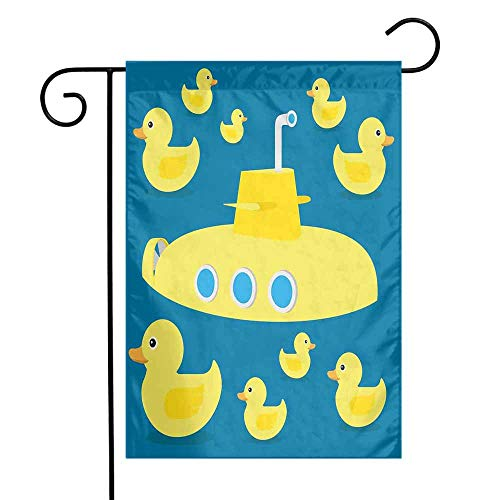 (Mannwarehouse Rubber Duck Garden Flag Duckies Swimming in The Sea with a Yellow Submarine Kids Party Nautical Print Premium Material W12 x L18 Navy Blue)