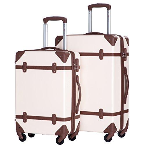 Merax Travelhouse 2 Piece ABS Luggage Set Vintage Suitcase (White & Brown)