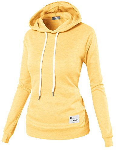 H2H Women Raglan Long Sleeves Hoodie Solid Color Pullover Sweatshirt Yellow US S/Asia S (KWOHOL026)