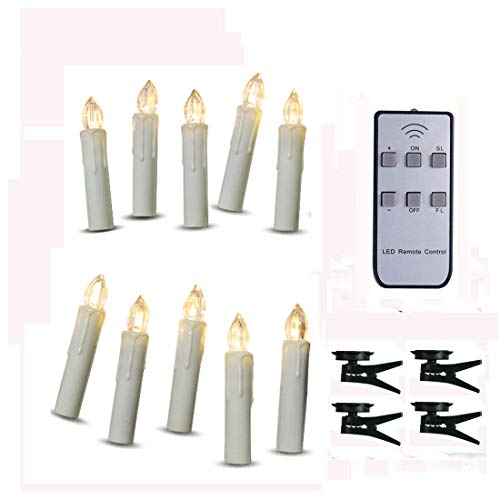 TBW LED Flameless Taper Ivory Candles with Remote and Removable Clips, Drip Effect, Set of 10