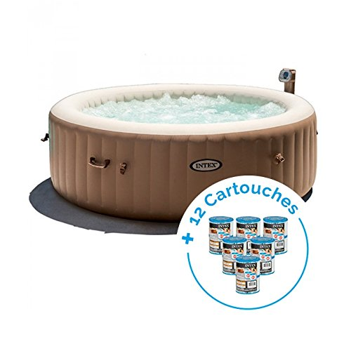 INTEX Spa Gonflable PureSpa Bulles 6 Personnes + 12 Cartouches Pure Spa