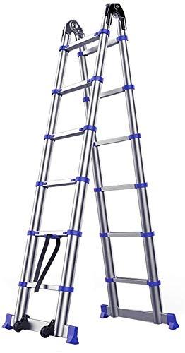 はしご アルミ台 伸縮はしご アルミ伸縮梯子、多目的伸縮ラダーソリッド大関節6つのサイズを可変ストレートはしごを強化 便座とフレーム (Size, 2.85m),2.55m