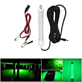 Fishing Light 12V 120LED 1000 lumens Lure Bait Finder 10.5W Night Fishing Finder Lamp Light LED Submersible Deep Drop Underwater Light with Battery Clip and Power Plug 6M Power Cord
