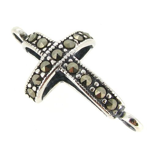 Dreambell 1 pc .925 Sterling Silver Antique Holy Cross Marcasite Link Connector/Findings/Antique