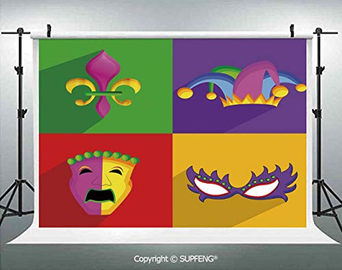 Photography Backdrops Colorful Frames with Mardi Gras Icons Masks Harlequin Hat and Fleur De Lis Print 3D Backdrops for Photography Backdrop Photo Background Studio Prop