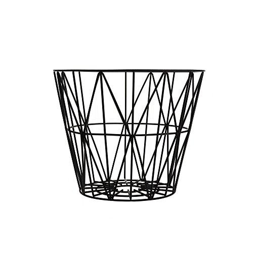Ferm Living Korb Drahtkorb klein schwarz Wire Basket - Black - Small auch als Beistelltisch zu verwenden