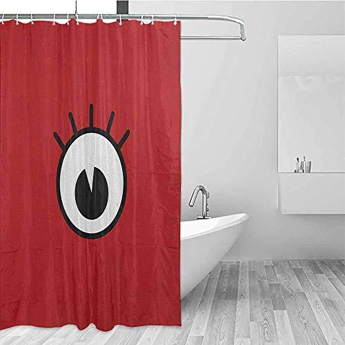 SONGDAYONE Wrinkle-Free Shower Curtain Eyelash Funny Cartoon Character Eye Monster Crazy Mascot Emotion Expression Comic Prevent Splashing Ruby Black White W72 xL84
