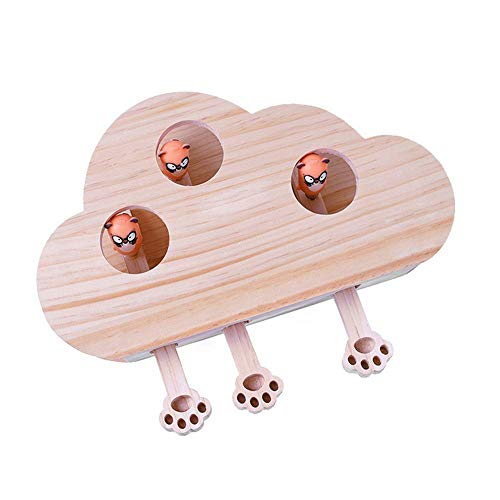 (Roebii New Interactive Cat Toy, Cat Puzzle Exercise Toys Solid Wood Box, Whack A Mole Mouse Exercise Toy(Doll))