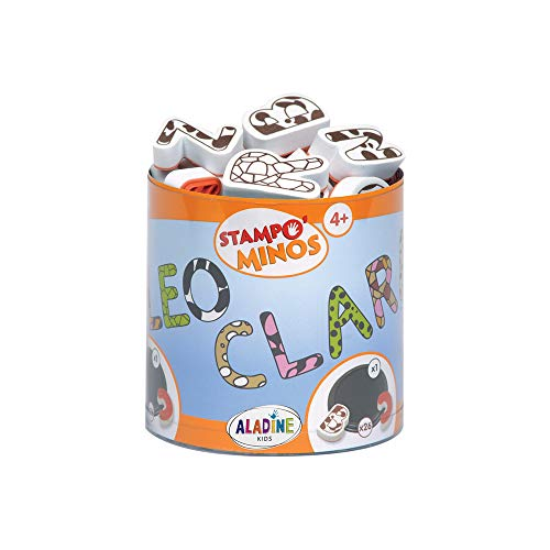 Aladine - Stampo Minos Capital Alphabet - Children`s Stamp Kit - Manual Activities Girl and Boy - Washable Ink - Toys and Creative Games - Box of Stamps + Large Inker Included - From 4 years