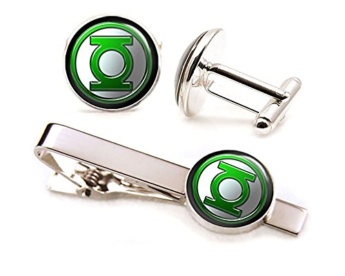 Green Lantern Tie Clip Tack, The Justice League Jewelry, Avengers Cufflinks, Cuff Links Link, Groomsmen Gift Wedding Party Gifts Father's Day Present Birthday Presents