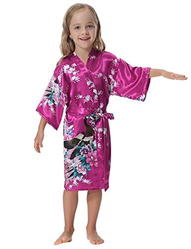 Aibrou Girls' Peacock Satin Kimono Robe Bathrobe Nightgown For Party Wedding,14,Rose Red]()