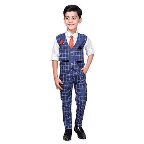 41u78auxAYL. SS500  - ahhaaaa Boy's Blended Waistcoat, Shirt, Tie Trouser Set