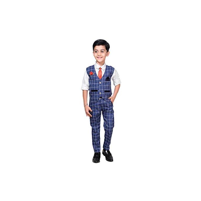 41u78auxAYL. SS768  - ahhaaaa Boy's Blended Waistcoat, Shirt, Tie Trouser Set