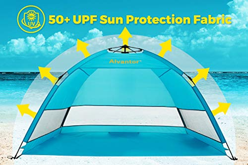 Alvantor Beach Tent Coolhut Plus Beach Umbrella Sun Shelter Cabana Automatic Pop Up UPF 50 Sun Shade Portable Camping Hiking Canopy Easy Set Up Light Weight Windproof Stable 3 or 4 Person